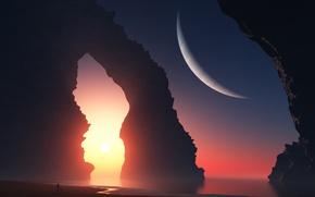 Picture sea, girl, landscape, sunset, rocks, planet, art, arch