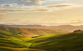 Picture the sky, clouds, dawn, hills, field, space, Italy, meadows, Tuscany, Toscana