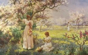 Picture trees, flowers, girls, spring, garden, girl, walk, flowering, cherry, Spring, garden, cherry, picking flowers, blossoms