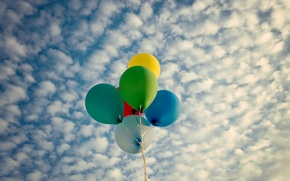 Picture the sky, clouds, balls, balloons, background, widescreen, Wallpaper, mood, bright, colored, wallpaper, widescreen, background, full …