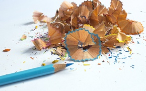 Picture blue, school, pencil, colored, shavings