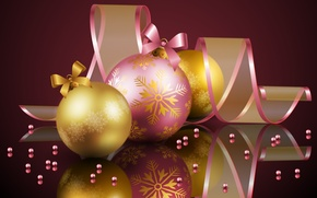 Wallpaper holiday, Happy New Year, cold, pink, Christmas, ball, soft, cool, sweetheart, Christmas balls, cold, ball, ...