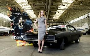Picture girl, Girls, actress, Amber Heard, Amber Heard, black car, poster, hangar aircraft