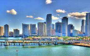 Picture bridge, the city, Marina, Miami