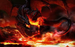 Picture night, fire, flame, dragon, wings, monster, sparks, fire, monster, dragon
