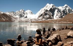 Wallpaper India, The Himalayas, lake, ice, prayer, stones