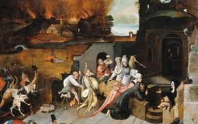 Wallpaper mythology, The Temptation Of St. Anthony The Hermit, picture, Hieronymus Bosch
