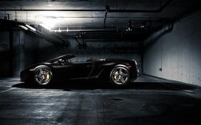 Picture light, pipe, black, lamp, Lamborghini, Parking, Gallardo, black, Blik, Lamborghini, Gallardo