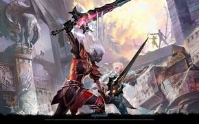 Wallpaper swords, sword, lineage 2, the battle, armor, dark elf, duel