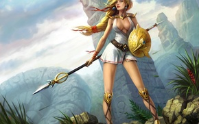 Picture girl, mountains, stones, the wind, statue, spear, shield, Amazon, Juggernaut