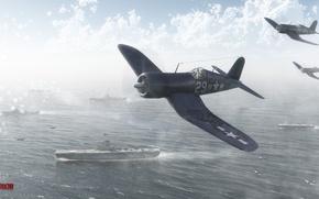 Picture the sky, clouds, fighter, the carrier, Art, corsair, War Thunder, Corsair, f4u, hibikirus, BBC America