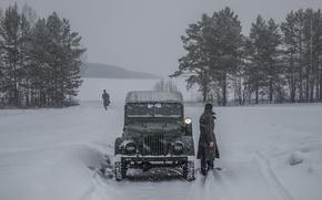 Picture road, snow, frost, car, goat, GAZ 69