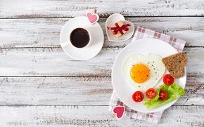 Picture love, gift, romance, heart, Board, egg, coffee, Breakfast, bread, scrambled eggs, tomatoes, coffee, salad, romance, …