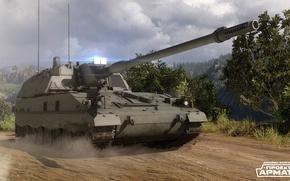 Picture road, forest, SAU, armored warfare, PzH2000