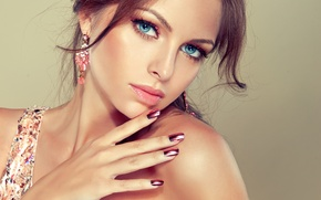 Picture eyes, look, girl, smile, earrings, makeup, blue, manicure