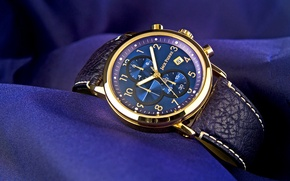 Picture metal, gold, blue, watch, fabric