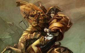 Picture horse, art, steampunk, rider