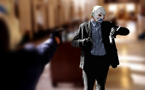 Wallpaper JOKER, style, clown, watch, batman, gun, movie, the dark knight, figure, time, mask, Batman, dark ...