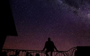 Picture the sky, grass, the sun, stars, clouds, night, dawn, black, dark, space, light, grass, black, ...