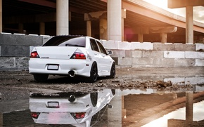 Picture white, reflection, construction, puddle, mitsubishi, lancer, evolution, evo, Lancer, Mitsubishi