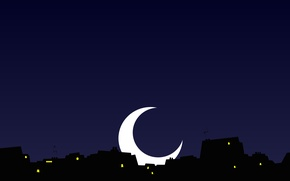 Picture the sky, night, the city, lights, the moon, Windows, home, a month