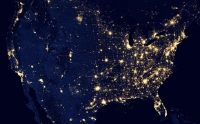 Picture night, lights, earth, planet, USA, North America