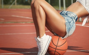 Picture girl, shorts, jeans, figure, legs, cutie, basketball