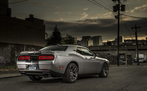 Picture The evening, Road, Machine, Street, Dodge, Challenger, Drives, SRT