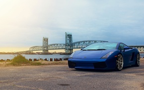 Picture the sky, clouds, blue, bridge, gallardo, lamborghini, blue, Lamborghini, Gallardo, lp540