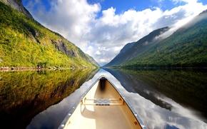 Picture landscape, New Zealand, river, river, landscape, New Zealand, canoe, canoe