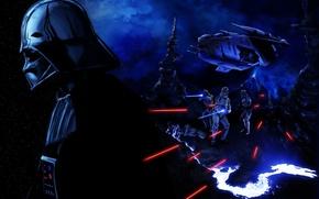 Picture Star Wars, villain, helmet, darth vader, art, stormtrooper