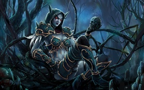 Wallpaper thicket, wow, art, world of warcraft, girl, Sylvanas, skull, elf, forest, bow