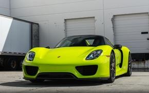 Picture green, porsche, 918, hybrid, spyder