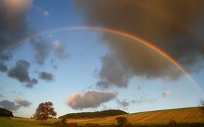 Picture landscape, nature, rainbow