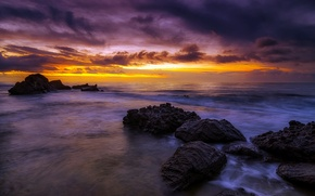 Picture sea, rocks, sunrise, Spain