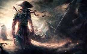 Wallpaper weapons, warrior, the wind, hat, rain