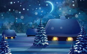 Picture Nature, Home, Winter, Night, Spruce, Vector graphics