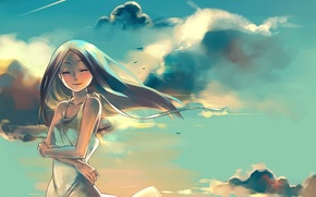 Picture the sky, dream, girl, clouds, sunset, the wind, anime, present, shooting star