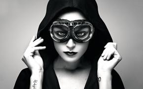 Picture girl, portrait, tattoo, glasses, hood, Aviator