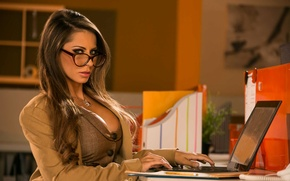 Picture chest, look, model, glasses, office, jacket, vest, madison ivy