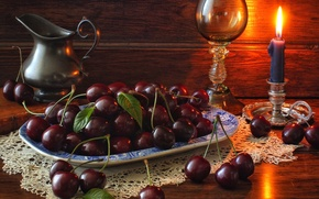 Picture berries, still life, candle, pitcher, glass, cherry
