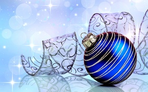 Picture close-up, blue, glare, reflection, background, holiday, toy, ball, New year, ribbon