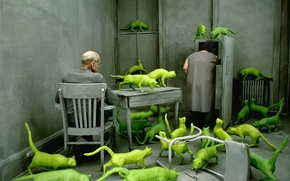 Picture pair, obsessions, green cats, Sandy Skoglund, the grey room