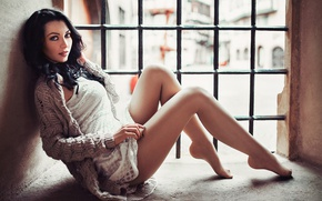 Picture girl, makeup, grille, figure, brunette, hairstyle, legs, sitting, Anna, cute, window, Lods Franck