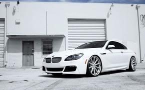 Picture Auto, White, BMW, Machine, Boomer, Lights, 6 Series, The front, Day Building