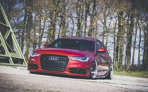 Picture Audi, red, front, wagon, stance, before