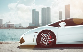 Picture tuning, white, supercar, the front, lamborghini gallardo, Lamborghini