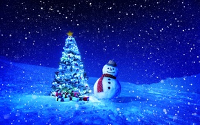 Wallpaper winter, snow, snowflakes, night, holiday, toys, tree, gifts, New year, snowman
