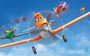 Picture cartoon, wings, Bulldog, flight, adventure, Cars, rally, wings, Cars, Walt Disney, animation, action, Walt Disney, …