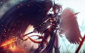 Wallpaper fan art, girl, wings, Dungeons and Dragons